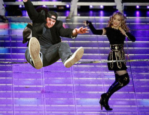 Jon Slacklining with Madonna at the Super Bowl