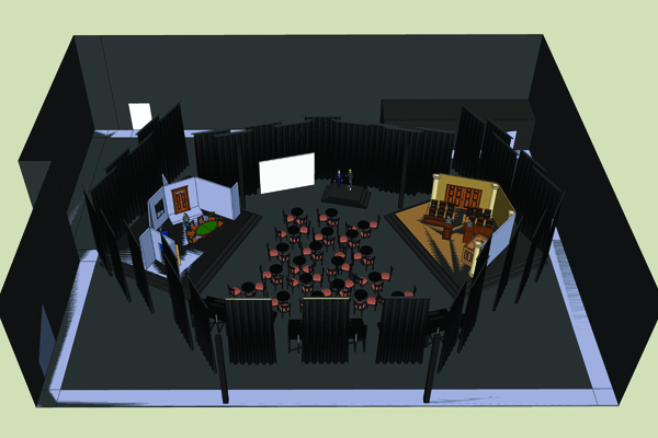 Live Show Stage - two main stages, LED screen and seating for 200 audience members.